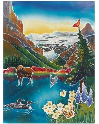 "Trademark Fine Art 'Alpine Lake Sunrise' Acrylic Painting Print on Wrapped Canvas ALI35777-CGG Size: 24"" H x 18"" W x 2"" D"