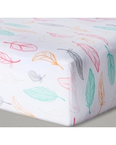 Fitted Crib Sheet Feathers - Cloud Island - Pink