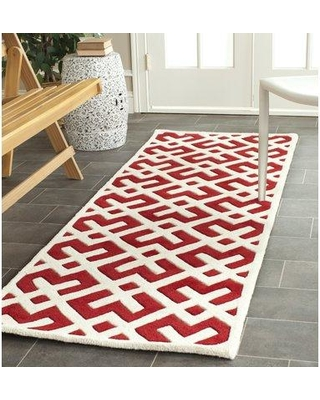 """Wrought Studio Wilkin Hand-Tufted Wool Red/Ivory Area Rug VKGL5113 Rug Size: Runner 2'3"""" x 7'"""