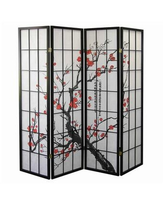 BM96076 Plum Blossom Print Wood and Paper 4 Panel Room Divider Red and
