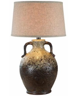 Vellen White and Brown Hydrocal 2-Handle Jug Table Lamp