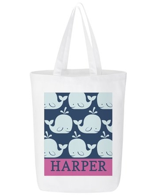 Personalized Whale Of A Tale Beach Tote- Pink