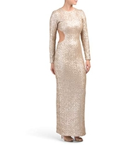 Dress the Population Women's Lara Long Sleeve Sequin Gown with Cut Outs, Pale Blush, xs