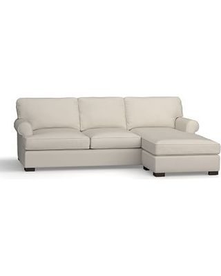 Townsend Roll Arm Upholstered Sofa with Reversible Storage Chaise Sectional, Polyester Wrapped Cushions, Performance Everydaysuede(TM) Stone