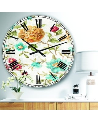 Designart 'Golden Flowers' Cabin & Lodge Large Wall CLock (23 in. wide x 23 in. high)