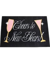 The Holiday Aisle Oneybrook Cheers New Years Eve Decoration Black/Pink Area Rug X111633406 Rug Size: Rectangle 4' x 6'