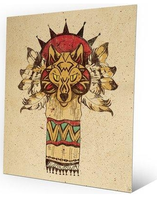 "Click Wall Art Wolf Totem Graphic Art on Plaque SWT0000005MTL Size: 24"" H x 20"" W x 1"" D"