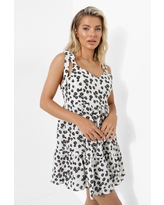 Womens Ditsy Floral Low Back Smock Dress - White - 6