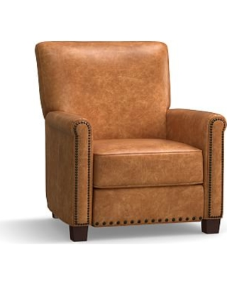 Irving Leather Recliner, Bronze Nailheads, Polyester Wrapped Cushions, Leather Statesville Caramel