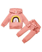 Children's Casual Cute Soft Cotton Simple Design Hooded Collar Rainbow Two-piece Pullover,Pink