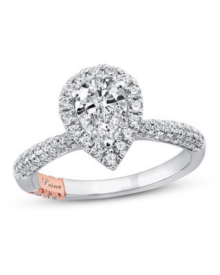 Jared The Galleria Of Jewelry Pnina Tornai Ocean of Love Diamond Engagement Ring 1-3/8 ct tw Pear/Round 14K Two-Tone Gold