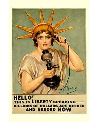 """Buyenlarge 'Hello! This is Liberty Speaking' by Z.P. Nikolaki Vintage Advertisement 0-587-20940-2 Size: 66"""" H x 44"""" W"""