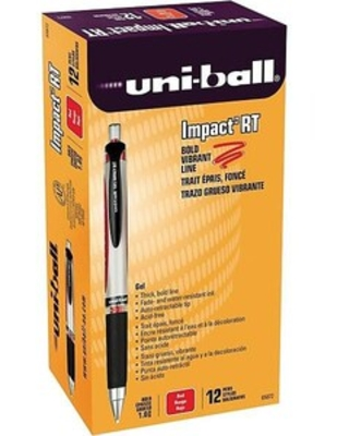 uni-ball 207 Impact RT Retractable Gel Pens, Bold Point, Red Ink, Dozen (65872) | Quill