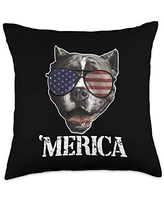 USA & 4th of July Dog Lover Gifts by Art Like Wow Dog Pitbull American Flag Sunglasses 4th Of July USA 'Merica Throw Pillow, 18x18, Multicolor