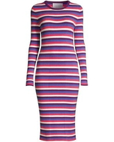 Striped Long-sleeve Ribbed Dress - Red - Victor Glemaud Dresses