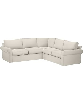 Pearce Roll Arm Slipcovered 2 Piece L Shaped Sectional Down Blend Wred Cushions