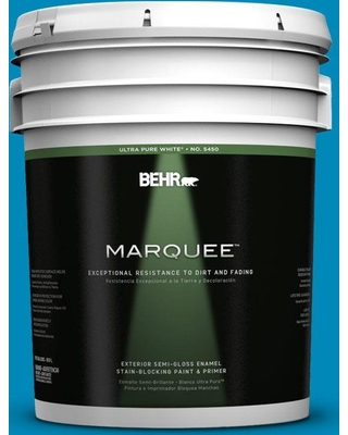 BEHR MARQUEE 5 gal. #540B-7 Royal Peacock Semi-Gloss Enamel Exterior Paint and Primer in One