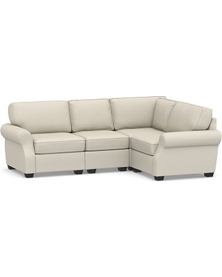 SoMa Fremont Roll Arm Upholstered 4-Piece L-Shaped Sectional, Polyester Wrapped Cushions, Sunbrella(R) Performance Slub Tweed Pebble