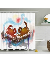 """Ulysses Sea Animals Theme Two Crabs Dancing on Abstract Grunge Background Print Single Shower Curtain Highland Dunes Size: 69"""" W x 70"""" H"""