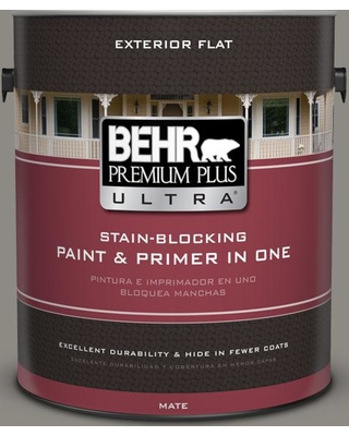 BEHR ULTRA 1 gal. #BXC-55 Concrete Sidewalk Flat Exterior Paint and Primer in One