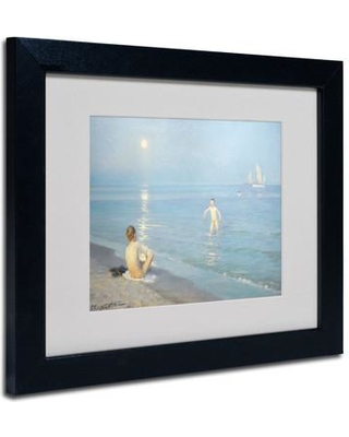 "Trademark Fine Art 'Boys on the Seashore in a Summer Night' Framed Print on Canvas BL01335 Size: 11"" H x 14"" W x 0.5"" D Frame Color: Black"