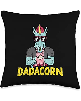 Best Dad Pillows Husband Birthday Fathers Day Gift Dadacorn Dadicorn Dad Unicorn Fathers Day Daddy Papa Men Throw Pillow, 16x16, Multicolor