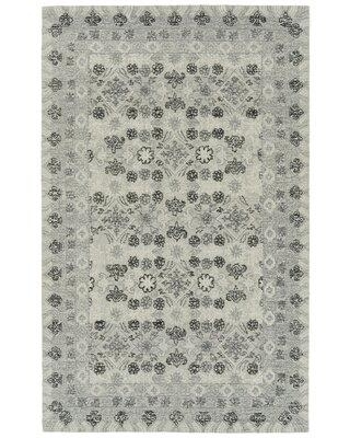 Ebern Designs Anastasius Floral Handmade Tufted Wool Gray Area Rug X113496978 Rug Size: Rectangle 3' x 5'