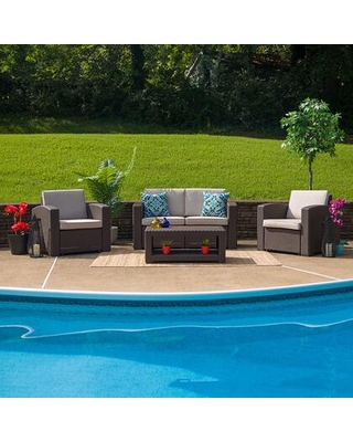 DAD-SF-112T-CBN-GG 4 Piece Outdoor Faux Rattan Chair Loveseat and Table Set in Chocolate