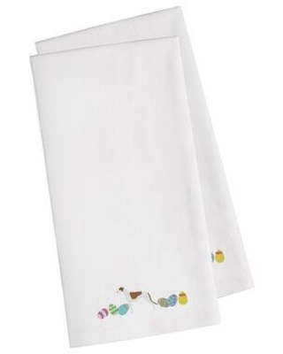 """The Holiday Aisle® Greyhound Easter Embroidered Kitchen Tea Towel, Cotton in White, Size 28"""" H x 19"""" W x 0.1"""" D 