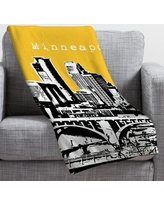 Deny Designs Bird Ave Minneapolis Throw Blanket 13599/13600-fle Size: Small, Color: Yellow