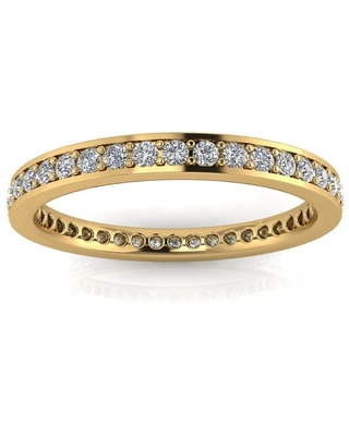 Channel Pave Set 18K Yellow Gold 26 Diamond 4MM 7/8ctw Eternity Band, Ring - White H-I (5.5)