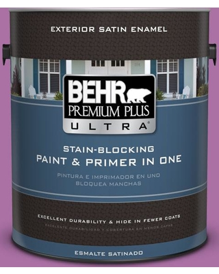 BEHR Premium Plus Ultra 1 gal. #670B-6 Orchid Kiss Satin Enamel Exterior Paint and Primer in One
