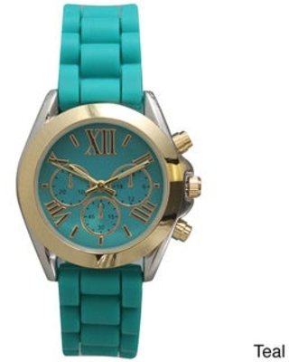 Olivia Pratt Black Metal/Stainless Steel/Silicone 3-dial Band Watch (Teal)