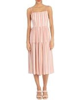 DONNA MORGAN Striped Sleeveless Tie Back Midi Dress, Size 2 in Red/pink at Nordstrom Rack