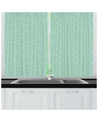 Abstract Retro Memphis Style Geometric Pastel Toned Odd Shapes Quirky Kitchen Curtain East Urban Home