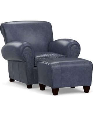 Manhattan Leather Armchair And Ottoman, Polyester Wrapped Cushions,  Statesville Indigo Blue