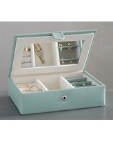 Mckenna Leather Travel Jewelry Box, Porcelain Blue