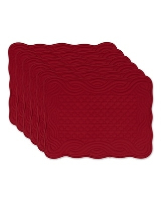DII French Blue Quilted Farmhouse Placemat (Set of 6) (Cranberry - Placemat Set)