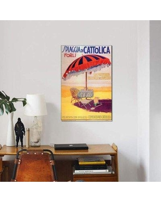 """East Urban Home 'Spiaggia Cattolica' Graphic Art Print on Canvas EBHS8101 Size: 18"""" H x 12"""" W x 1.5"""" D"""