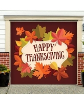"""The Holiday Aisle Happy Thanksgiving Fall Leaves Garage Door Mural THLY5459 Size: 84"""" H x 96"""" W"""