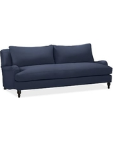 "Carlisle Upholstered Sofa 80"" with Bench Cushion, Polyester Wrapped Cushions, Twill Cadet Navy"