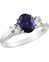 Created Blue and White Sapphire Ring in Sterling Silver - Blue/White, Size: 7.0, Blue White
