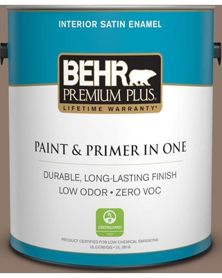 BEHR Premium Plus 1 gal. #N170-5 Chocolate Heart Satin Enamel Low Odor Interior Paint and Primer in One