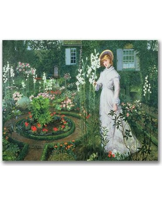 "Trademark Fine Art ""The Rector's Garden"" by John Atkinson Grimshaw Painting Print on Wrapped Canvas BL0547-C Size: 30"" H x 47"" W x 2"" D"