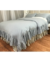 Duck Egg Blue Duvet Cover w. Mermaid Long Ruffle, Linen Ruffle Bedding, Ruffle Duvet Cover, Shabby Chic Bedding, Luxury Bedding Collections, FREE SHIPPING