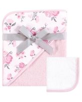 Hudson Baby Unisex Baby Hooded Towel and Washcloth, Pink Floral 2-Piece Set, One Size