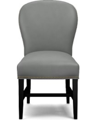 Maxwell Dining Side Chair without Handle, Tuscan Leather, Dove, Polished Nickel