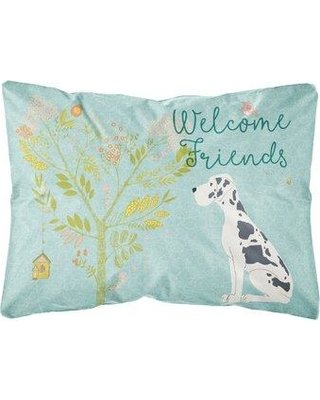 Winston Porter Machado Welcome Friends Great Dane Indoor/Outdoor Throw Pillow BF148409 Color: Black/White