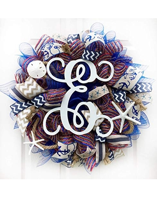 Big Savings For Artisan Nautical Coastal Everyday Year Round Wreath With Monogram Letter E Most Letters Available Starfish Sand Dollar For Outdoor Or Indoor Decorations Wreath Is Very Full Measures 18x18x6