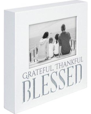 "Winston Porter Dawson Blessed Galvanized Picture Frame, Wood in White, Size 8""H X 8""W X 1""D 
